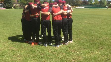 North Middlesex players have a huddle before their Middlesex County League Premier Division match (p