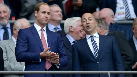 The Duke of Cambridge and Arsenal chief executive Ivan Gazidis in the stands at Wembley Stadium at t
