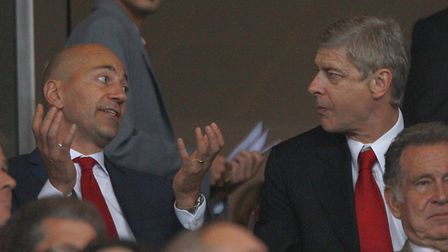 Arsenal CEO Ivan Gazidis with then manager Arsene Wenger at the Emirates. PA
