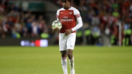 Arsenal's Alex Iwobi waits to take a penalty during the pre-season friendly match at the Aviva Stadi