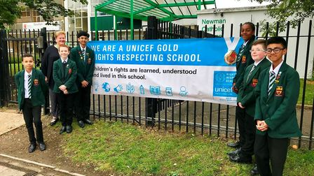 Newman Catholic Collegeo pupils have been awarded a prestigious Unicef Gold Award (Picture: NCC)