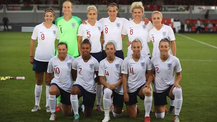 Jordan Nobbs face the camera with England Women before a World Cup qualifying match earlier this yea