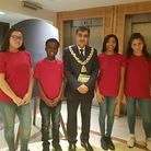 Mayor of Brent, Cllr Arshad Mahmood with students from the 360 Arts at the Generations of Learning e