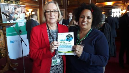 Adenike Johnson in Parliament with Gill Furniss, MP for Sheffield Brightside and libraries champion.