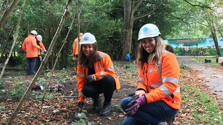 Staff from Thames Water get planting at former sewage bogged brook in Woodcock Park. Picture: Thames