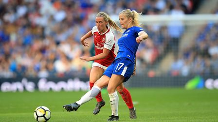 Arsenal Womens' Jordan Nobbs (left) Chelsea Ladies' Katie Chapman (right) battle for the ball (pic A
