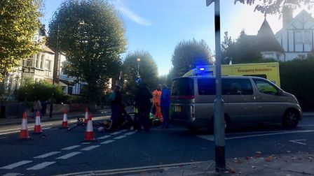 The accident saw a man cycling with a child knocked off his bike. Picture: Daniel Kulakov