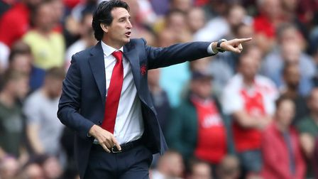 Arsenal head coach Unai Emery on the touchline during the Premier League match at the Emirates Stadi