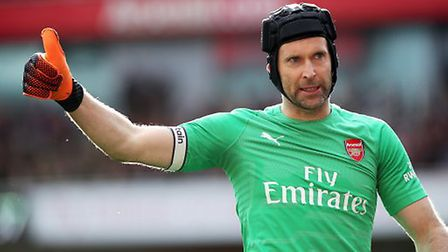 Arsenal goalkeeper Petr Cech reacts after making a save during the Premier League match at the Emira