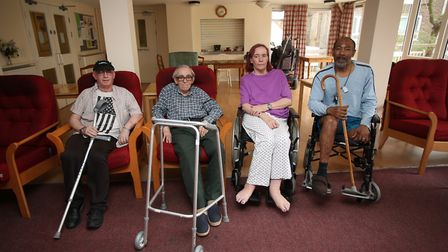 Disabled and elderly residents in sheltered housing at Belmore House, one of the affected blocks, pi