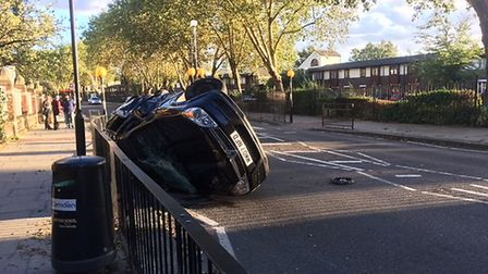 Car flipped over in Cricklewood Picture: Imogen Braddick