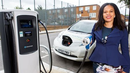 Cllr Claudia Webbe with a rapid electric vehicle charger. Unlike this one, a handful of the slower c