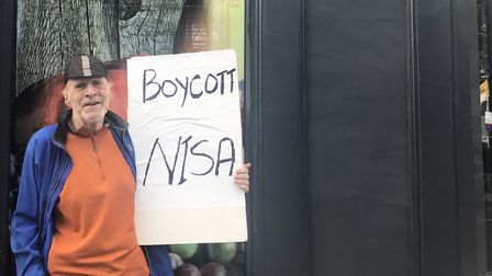 The protest outside Nisa in Kentish Town. Picture: Emily Webber