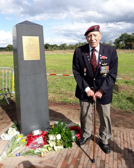Frank Ashleigh unveils new memorial on Landing Zone 'X at Renkum Picture: Dr David Pasley
