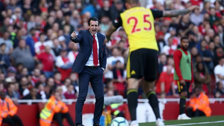 Arsenal manager Unai Emery on the touchline during the Premier League match at the Emirates Stadium,