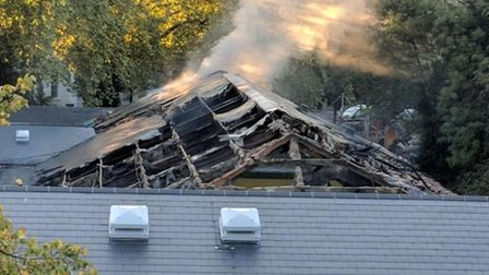 The remains of the Highbury Leisure Centre roof this afternoon. Picture: Alan Davison