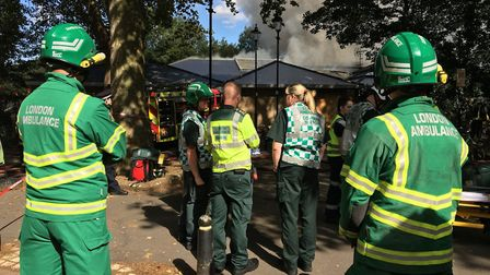 Medics at the scene of the Highbury Leisure Centre fire. Picture: @LAS_HART
