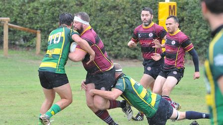 A double hit from double try scorer Frazer Findlater (10) and captain Evan Gwilliam (8) (Pic: Nick C