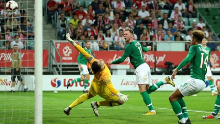 Aiden O'Brien capped his Republic of Ireland debut with a goal against Poland (pic: Steven Paston/PA