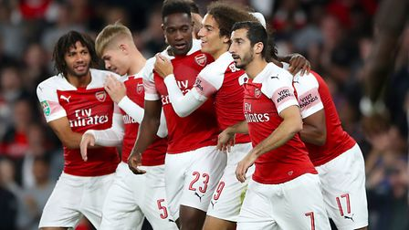 Arsenal's Danny Welbeck celebrates scoring his side's first goal against Brentford (pic Nick Potts/P
