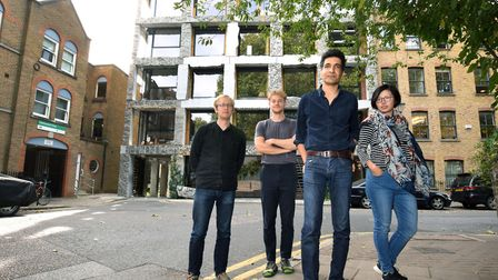 Architects Dominic Kacinskas, Alex Cotterill and Amin Taha with office manager Elisa Lam outside 15