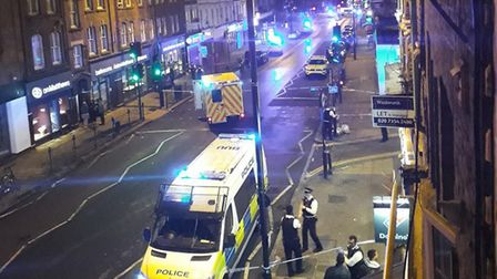 The scene in Essex Road after the shooting. Picture: Teresa Rider