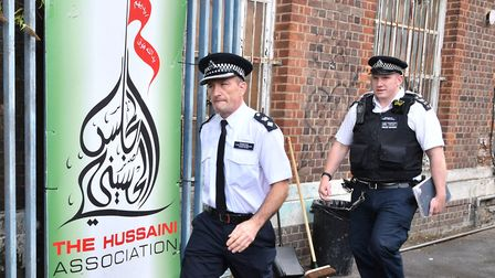 Police outside The Hussaini Association in Oxgate Lane, Cricklewood Picture: John Stillwell/P