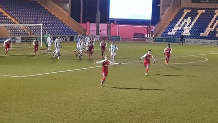 Emile Smith-Rowe celebrates his second goal against Colchester in the FA Youth Cup sixth round as Ar