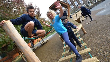 Children at Canonbury Primary School on their new playground equipment. Picture: Polly Hancock