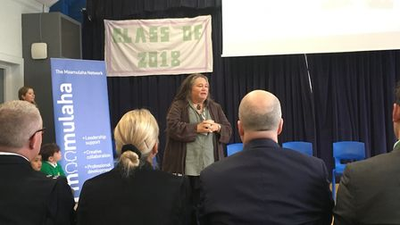 Michelle Bahn speaks at The Maamulaha Network event. Picture: Lucas Cumiskey