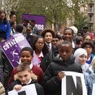Ark Academy students outside the Home Office demanding lower fees for British citizenship applicatio
