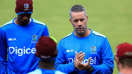 West Indies head coach Stuart Law holds a team talk during the nets session at Edgbaston (pic Tim Go