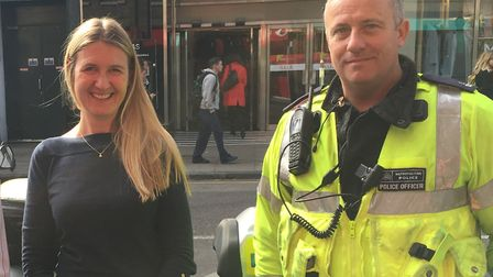 """Supt Caroline Haines at the launch of the Met's """"Be Safe"""" Islington campaign. Picture: Lucas Cumiske"""