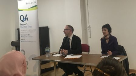 Cllr Richard Watts takes questions from the Islington Survivors Network at Leader's Question Time. P