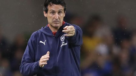 Arsenal manager Unai Emery gestures on the touchline (pic Niall Carson/PA)