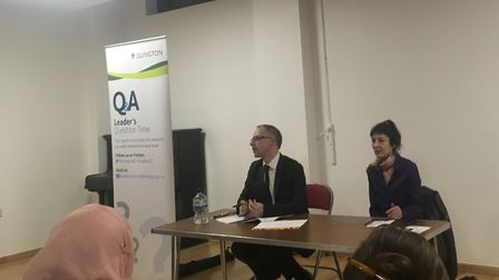 Cllr Richard Watts takes questions on Shearling Way Estate at Leader Question Time in Holloway. Pict