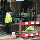 Contractors on the Barnsbury Estate on Monday. Picture: Oliver Barnes