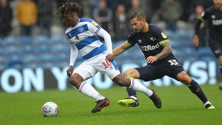 Eberechi Eze of Queens Park Rangers and Bradley Johnson of Derby County (pic George Phillipou/TGS Ph