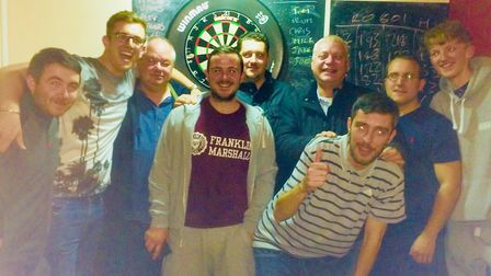 Royal Oak B face the camera at their latest Archway Darts League match