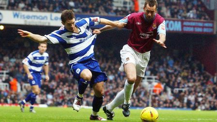 West Ham United's Don Hutchinson tussles with Queens Park Rangers Jamie Cureton (pic: Chris Young/PA