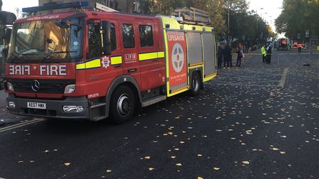 LFB Haringey assisted Cadent Gas at the scene of a major gas leak in Green Lanes. Picture: LFB Harin