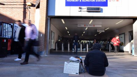 A homeless man outside Highbury and Islington station. Picture: Polly Hancock