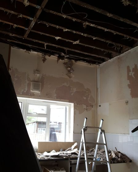 Sean McGowan's kitchen after a pipe burst in the flat above Picture: Sean McGowan