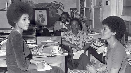 Tony Douglas (deputy editor) and Russell Pierre (editor) of the West Indian World, the first nationa