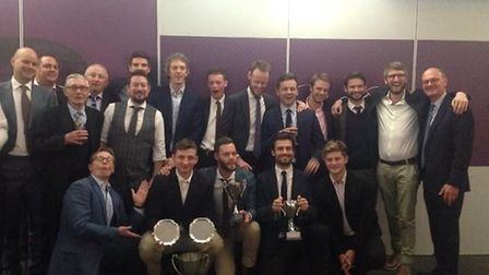 Players from North Middlesex's first, second and third-team celebrate the second XI and third XI's l