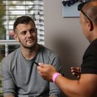 England's Jack Wilshere speaks to Layth Yousif at his home. Picture: DANNY LOO