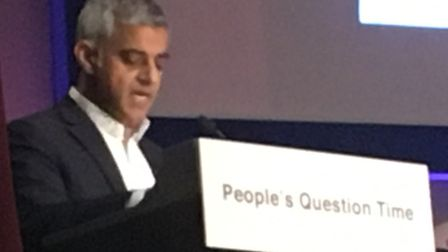 Sadiq Khan speaks at the People's Question Time event in the Islington Assembly Hall. Picture: Lucas