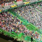Loyal Arsenal fans at the Estadio Jose Alvalade during the Europa League match between Sporting Lisb