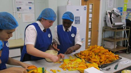 Pupils at St Gregory's Catholic Science College prepare soup for the homeless. Picture: St Gregory's