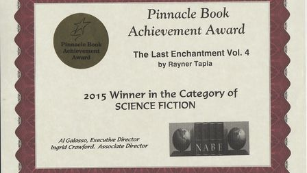 Rayner Tapia won first prize for Science Fiction for her children's novel The Last Enchantment